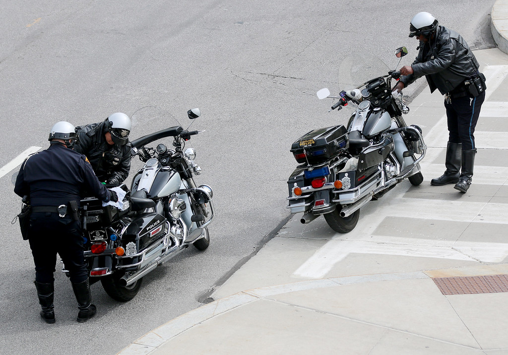 . Jonathan Tressler � The News-Herald <br> Cleveland Police Department motor officers shine up their rides prior to the commencement of the 32nd Annual Greater Cleveland Peace Officers Memorial Parade and Memorial Service in Downtown Cleveland May 19.