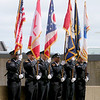 Jonathan Tressler — The News-Herald <br> Part of the Cleveland Police Department's Honor Guard fly their flags high as the Greater Cleveland Peace Officers Memorial Parade and Memorial Service in Downtown Cleveland moves into the memorial portion of the event May 19.