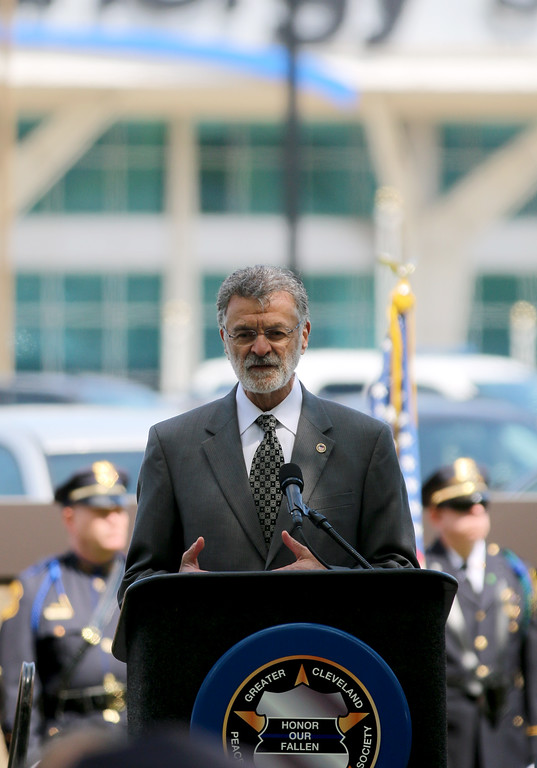 . Jonathan Tressler � The News-Herald <br> Cleveland Mayor Frank Jackson speaks during the Greater Cleveland Peace Officers Memorial Parade and Memorial Service in Downtown Cleveland May 19.