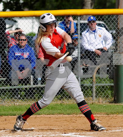 Indian Creek junior Raymond Ragan hits a two run double during regional action in Big Rock on Saturday, May 19.