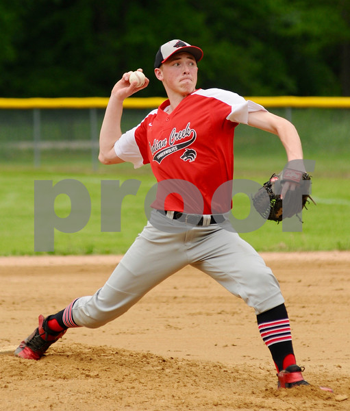 Indian Creek pitcher Cooper Larsen delivers during regional action in Big Rock on Saturday, May 19.   Steve Bittinger - For Shaw Media