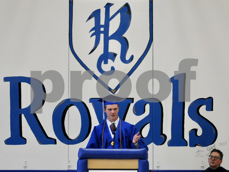 Class valedictorian Keith Herrmann addresses graduates at the Hinckley-Big Rock High School commencement on Sunday.  Steve Bittinger - For Shaw Media