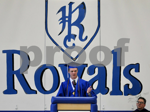Class valedictorian Keith Herrmann addresses graduates at the Hinckley-Big Rock High School commencement on Sunday.  Steve Bittinger - For Shaw Media