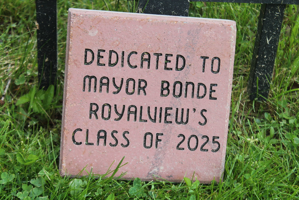 . Kristi Garabrandt � The News-Herald <br> A commemorative brick will go along with the friendship benches placed in the courtyard of Royalview elementary School by the fifth grade students as part of the  Mayor\'s Challenge.