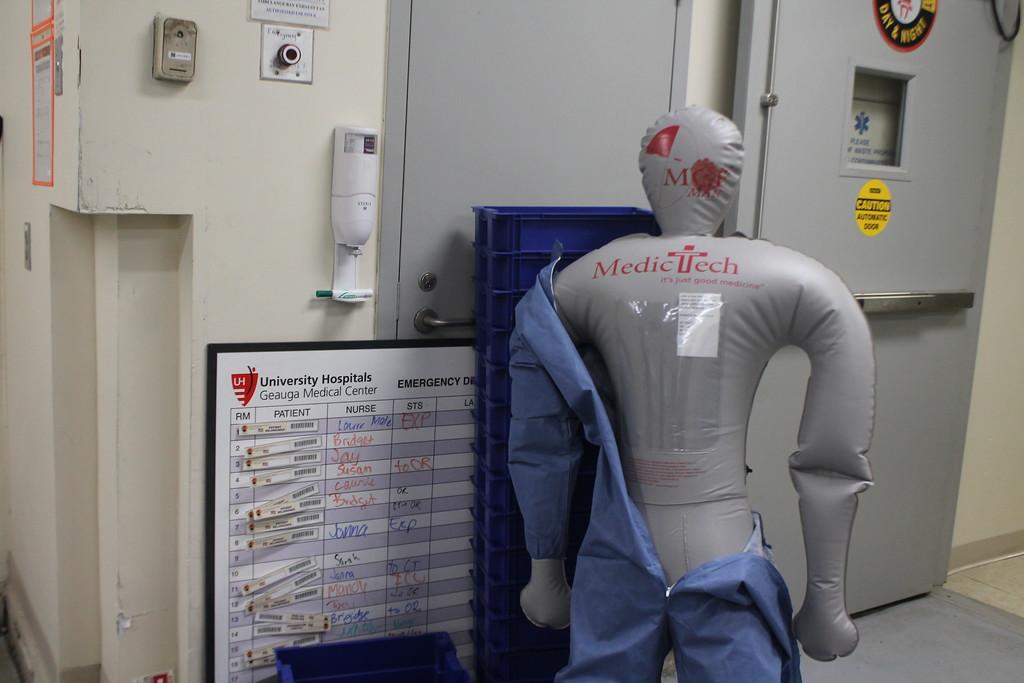 . Medical mannequins are used to represent gun shot victims as part of the staged mass shooting  and a white board with bar codes to identify patients  and track their location in the hospital and injuries are brought in  are used   during  the disaster drill held by University Hospital Geauga Medical Center on May 23. Kristi Garabrandt - The News-Herald