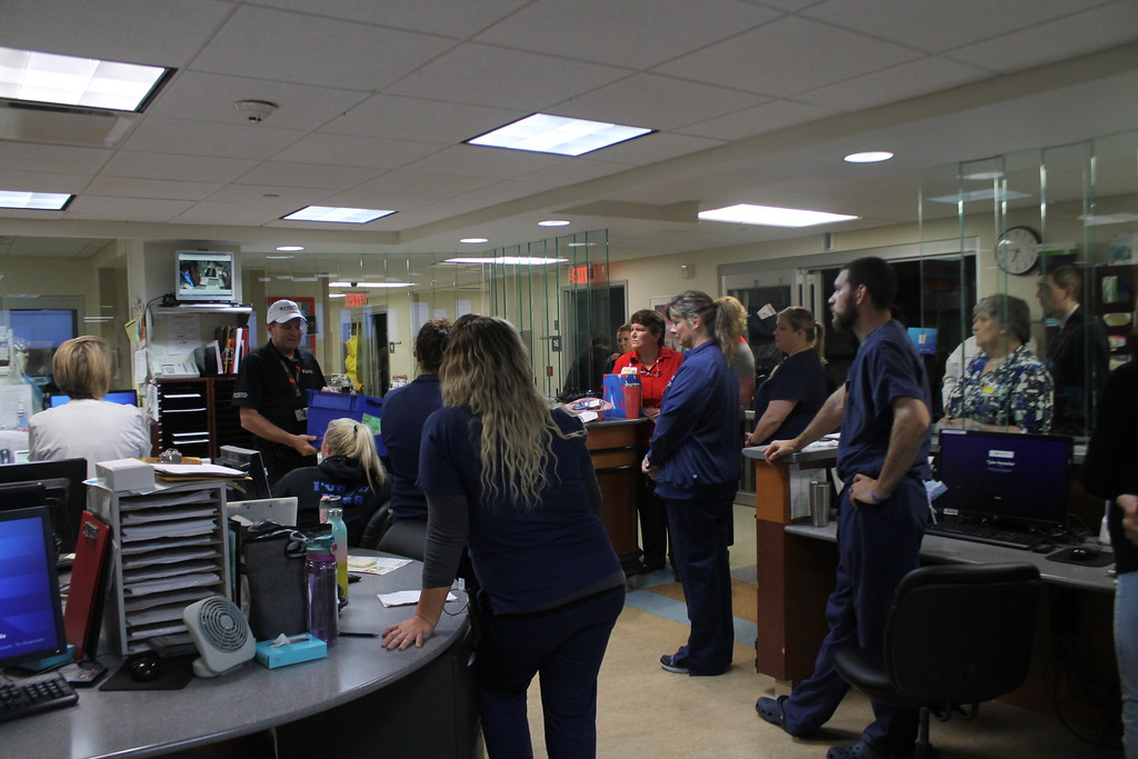. Don Zimmerman, emergency management coordinator debriefs the emergency room nurses and doctors prior to the start of the disaster drill held by University Hospital Geauga Medical Center on May 23. Kristi Garabrandt - The News-Herald