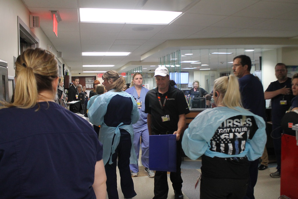 . Emergency room nurses and doctors prepare for 20 victims of a staged mass shooting to arrive as part of  the disaster drill held by University Hospital Geauga Medical Center on May 23. Kristi Garabrandt - The News-Herald