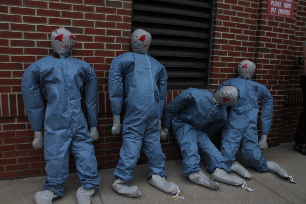 . Medical mannequins are used to represent gun shoot victims  during  the disaster drill held by University Hospital Geauga Medical Center on May 23. Kristi Garabrandt - The News-Herald