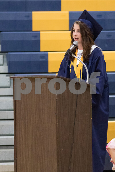 """Sam Buckner for Shaw Media.<br /> Kristen Hoffman, one of three valedictorians gives """"A Thank You"""" speech to those who helped her and her classmates graduate on Friday May 26, 2017."""