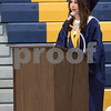 "Sam Buckner for Shaw Media.<br /> Kristen Hoffman, one of three valedictorians gives ""A Thank You"" speech to those who helped her and her classmates graduate on Friday May 26, 2017."