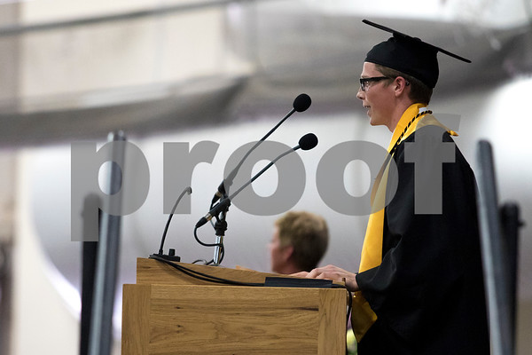 Sam Buckner for Shaw Media.<br /> Valedictorian Jacob Peloquin gives a speech during the commencement ceramony on Sunday May 28, 2017 at Sycamore High School.