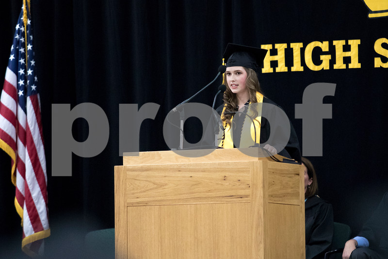 Sam Buckner for Shaw Media.<br /> Laurynn Mize gives a speech at the commencement ceramony on Sunday May 28, 2017.