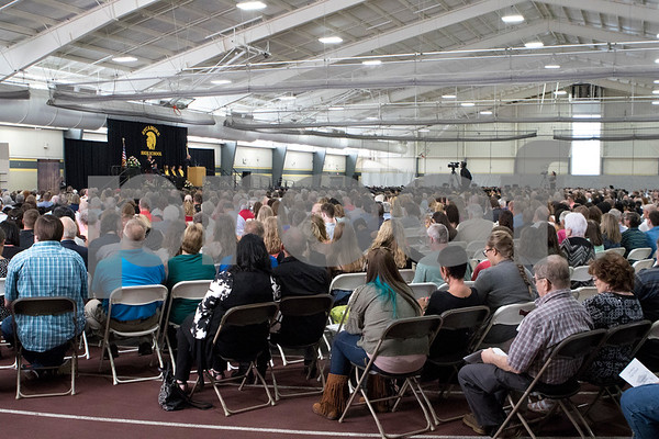 Sam Buckner for Shaw Media.<br /> Graduates and their families sit in a packed field house to watch the commencement ceramony on Sunday May 28, 2017.