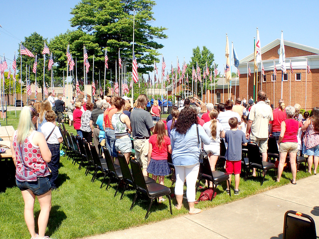 . Jonathan Tressler - The News-Herald. Attendees of Eastlake�s 2018 Memorial Day service at the Boulevard of 500 Flags say the Pledge of Allegiance May 29 behind city hall.