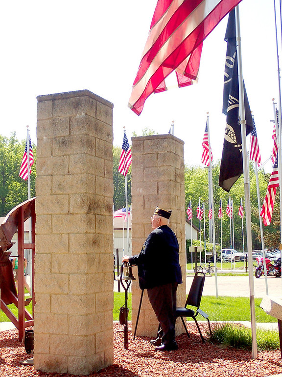 . Jonathan Tressler - The News-Herald. Joe Strand, President of the Boulevard of 500 Flags organization, rings the bell May 28 near the venue�s 9-11 Memorial to recognize U.S. servicemen and women�s involvement in five separate wars during Eastlake�s 2018 Memorial Day service.
