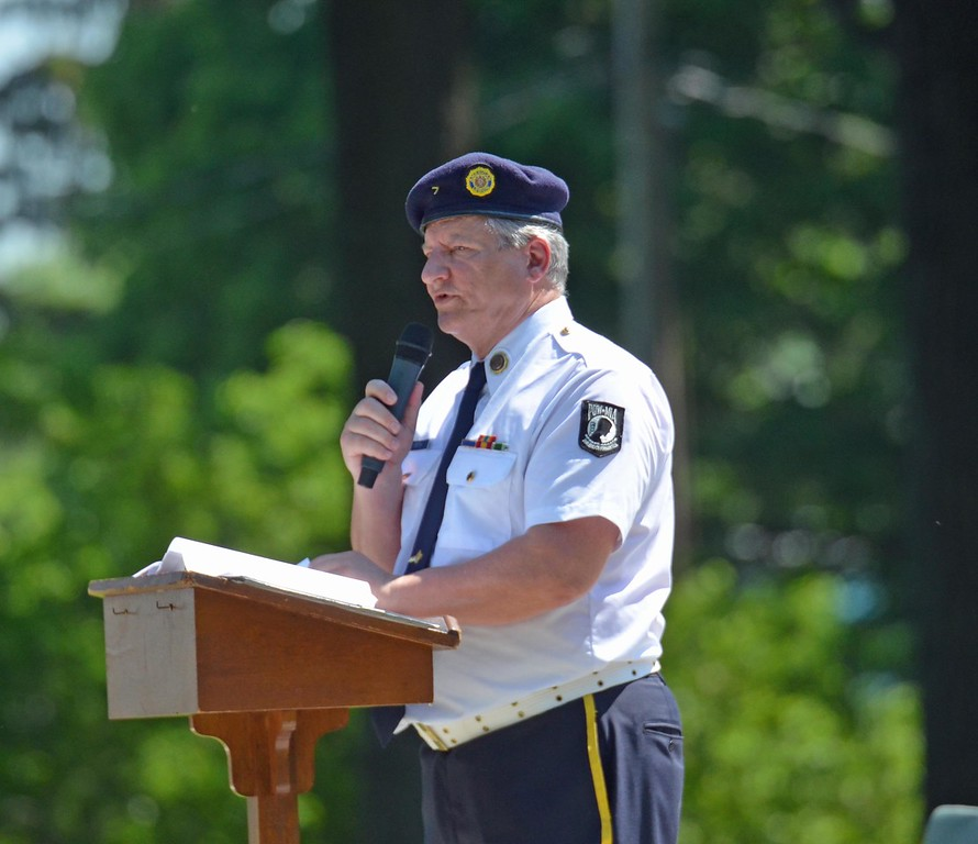 . Paul DiCicco - The News-Herald <br> Wickliffe\'s Brewer-Tarasco Post 7 past Commander, David Krych, delivers a message from the National Commander.