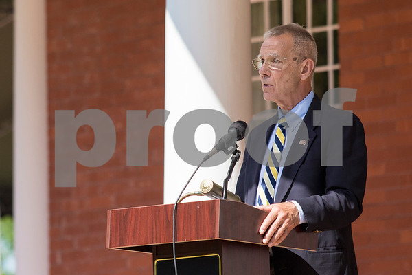 Sam Buckner for Shaw Media.<br /> Keynote speaker Judge Tom Doherty talks to a crowd on the Ellwood house lawn on Monday May 29, 2017.