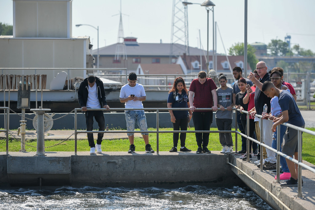 . Eric Bonzar�The Morning Journal<br> As part of their environmental science studies, a group of Lorain High School scholars had the opportunity to tour the city\'s waste water treatment plant,  under the guidance of plant assistant superintendent Tim Cox, May 29, 2018.