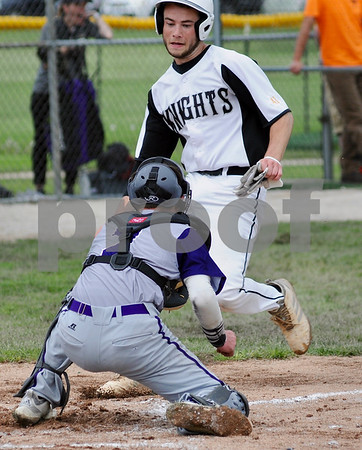 Kaneland baserunner Tommy Shaw is tagged out during sectional action against Dixon on Wednesday in Sycamore.  Steve Bittinger - For Shaw Media