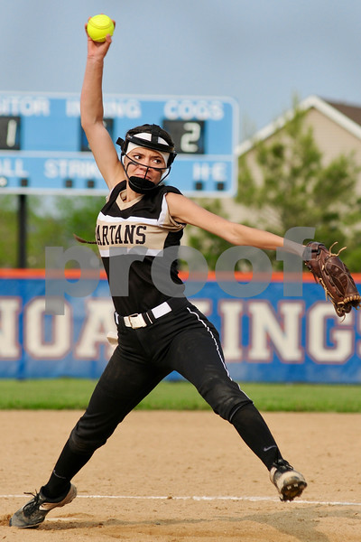 Spartan pitcher Milani Sablan delivers during a sectional final victory for Sycamore on Friday.  Steve Bittinger - For Shaw Media