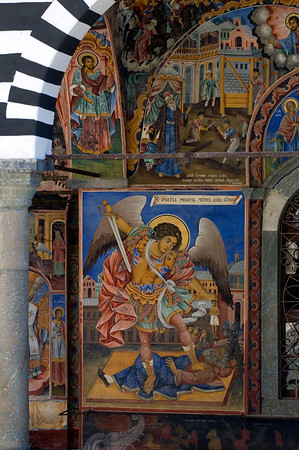 Frescoes on the outside walls of of the church, Rila Monastery, The Rila Mountains, Bulgaria