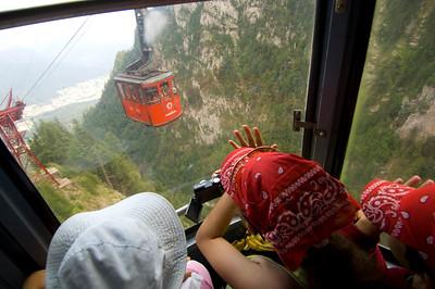 Children on a school trip, Busteni cable car, Bucegi Mountains, Romania