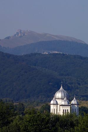 Horezu and mountain scene, Wallachia, Romania
