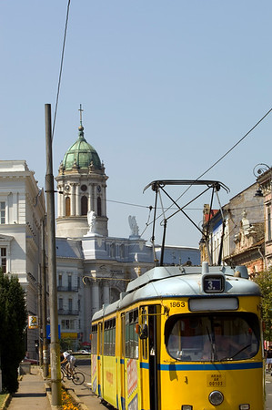 Tram on the street of Arad, The Banat, Romania