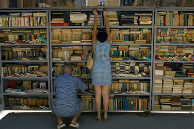 Second-hand books on sale, stall, Timisoara, The Banat, Romania