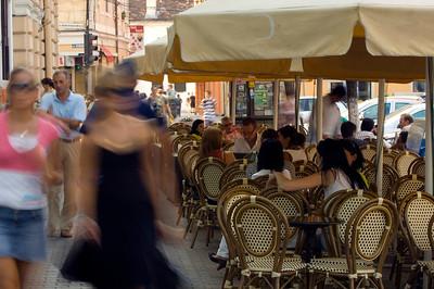 Sidewalk cafe on Piata Unirii, Cluj-Napoca, Transylvania, Romania