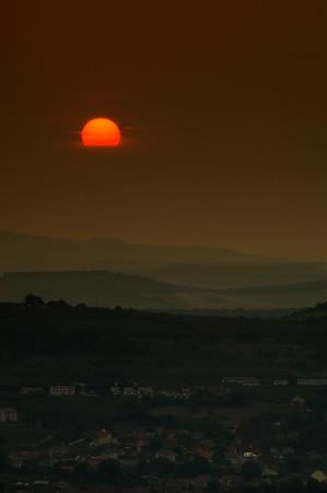 Sun setting over the hills, Transylvania, Romania