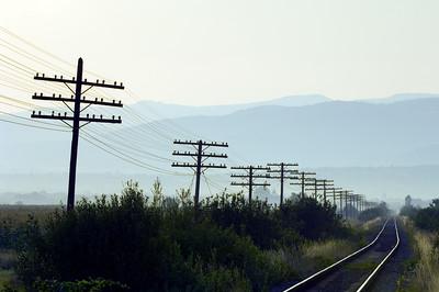 Electric poles running along railway lines near Sapanta, Maramures, Romania