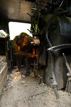 Steam engine of logging train locomotive,  Vaser Valley, Maramures, Romania
