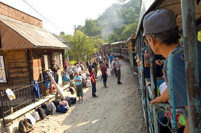Logging train is passing through Vaser Valley, Maramures, Romania