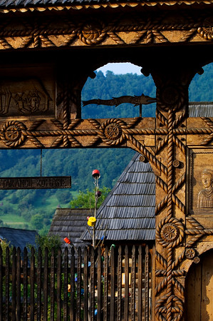 Handcrafted typical wooden gate, Maramures, Romania