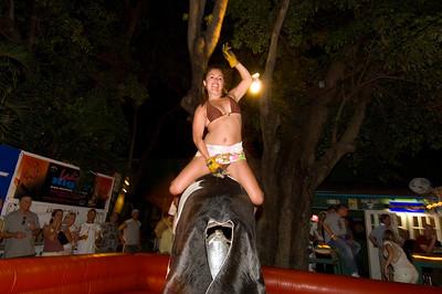 Mechanical bull in a bar on Duval Street, Florida Keys, Florida, United States of America