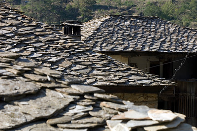 Typical slated roofs, Leshten village, Rhodope Mountains, Bulgaria
