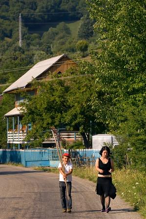 Village scene and traditional wooden architecture, Moldavia, Romania