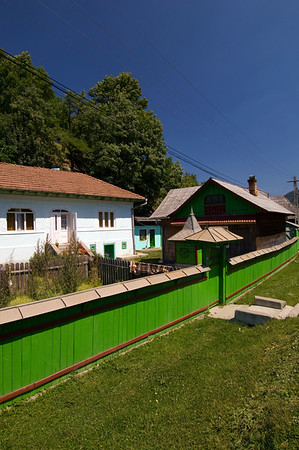 Typical wooden architecture and design in a village of Bicaz, Moldavia, Romania