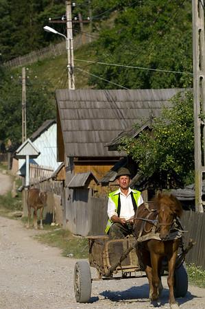 Farmer riding through a village on horse drawn cart, Buhalnita, Moldavia, Romania