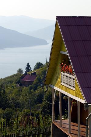 Village overlookig Bicaz Lake, Moldavia, Romania