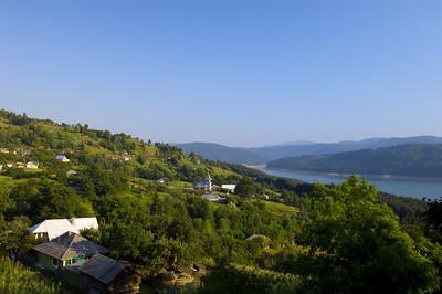 Village overlooking Bicaz Lake, Moldavia, Romania
