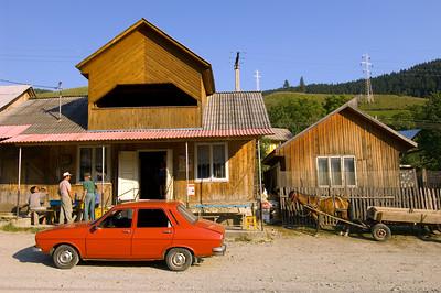 Local bar and village scene, Buhalnita village near Bicaz, Moldavia, Romania