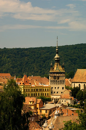 View of town and the Citadel above, Sighisoara, Transylvania, Romania