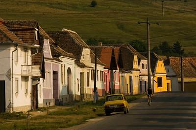 Street scene of a typical Saxon town, Transylvania, Romania