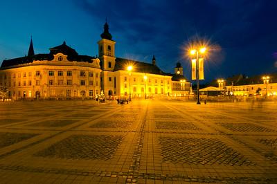 Piata Mare at night, Old Town, Sibiu, Transylvania, Romania