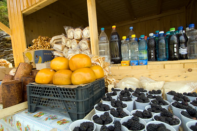 Forest fruits and other products on sale, Fagaras Mountains, Transylvania, Romania
