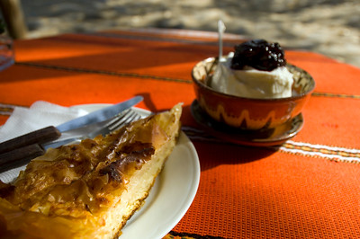 Traditional breakfast made of banitsa and yoghurt with fruit is served in Bozhentsi, Bulgaria