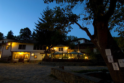 Main square of Bozhentsi village by night, Bulgaria