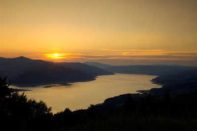 Sunset over Bicaz Lake, Moldavia, Romania